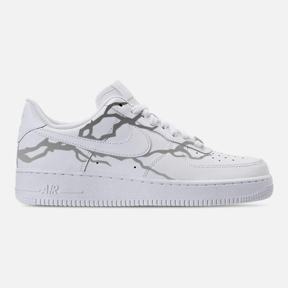 Nike Shoes Air Force 1 Custom Lightning Reflective Poshmark